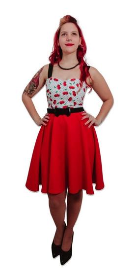 Vestido Pin Up Retro Cerezas Lunares Rojo Falda Plato