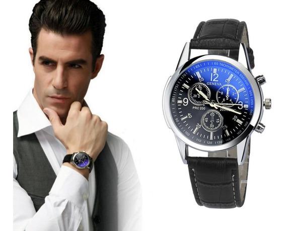 Relógio Luxo Masculino Pulseira Couro Geneva Pulso Social