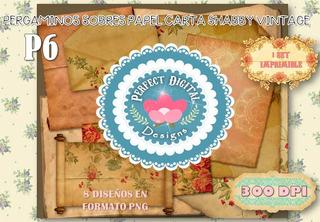 Kit Imprimible Vintage Papeles Antiguos Rosas 8 Diseños Tags
