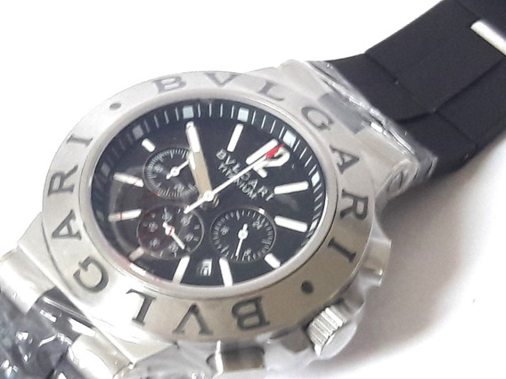 Relógio Masculino Bulllgari Titanium Funcional Bataria Borracha