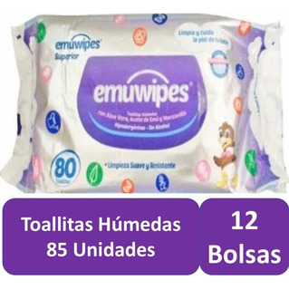 Toallitas Humedas 12 Bolsas 85 C/u Emuwipes Superior