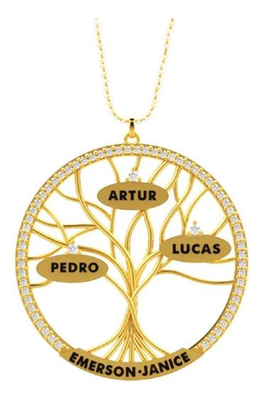 Colar Mandala Árvore Da Vida Com Nomes Personalizados Ouro