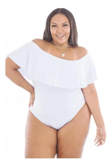 Body Maiô Babado Ombro A Ombro Plus Size Gg 46 Ao 52