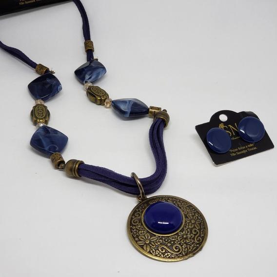 Colar De Pedras Com Medalhão E Brinco Lindo Conjunto Biju