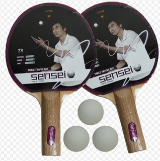 Set Ping Pong Sensei Tenis De Mesa Kit 2 Paletas + 3 Pelotas