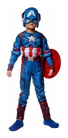 Fantasia Capitao America Infantil + Mascara+ Escudo Avengers