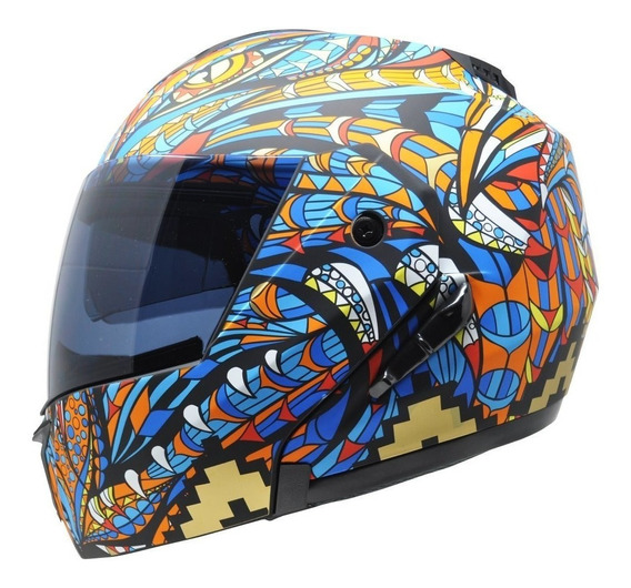 Casco Kov Stealth Alebrije Azul Abatible Certificado Dot