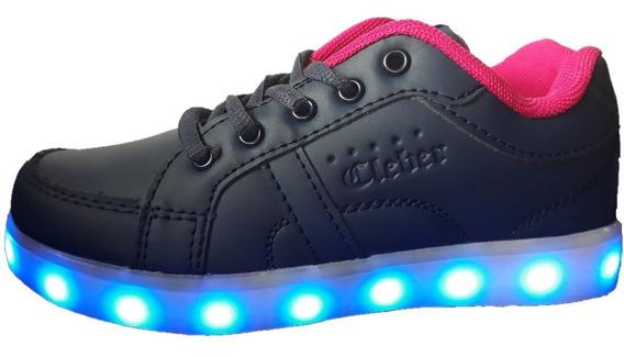 Promo Zapatillas Azules Fucsia Con Luces Luz Led Recargables