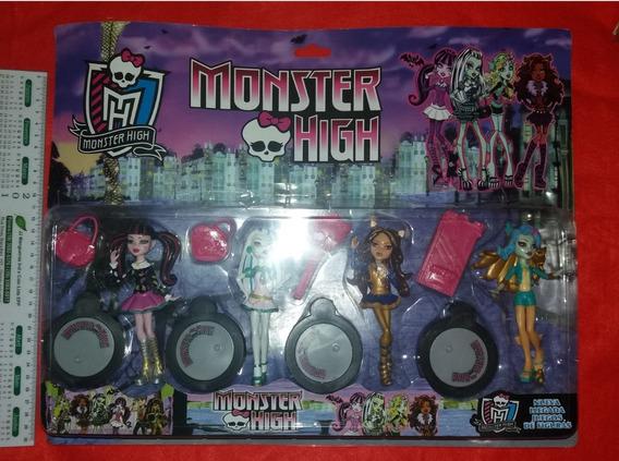 Kit 4 Boneccas Monster High Draculaura, Clawdeen Frankie