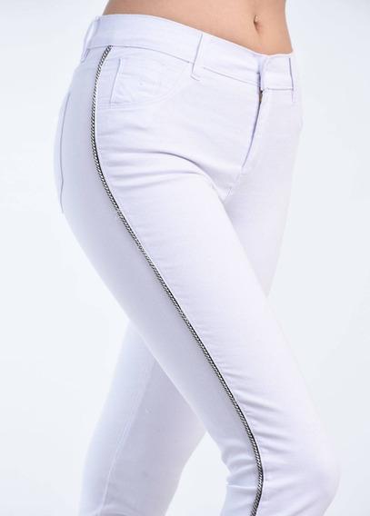 Pantalón Gabardina Blanco Mujer