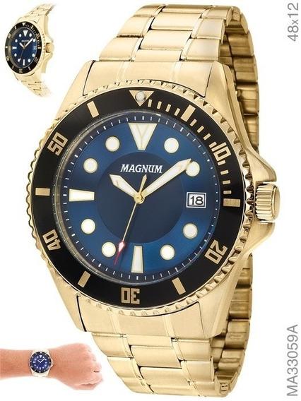 Relógio Masculino Magnum Aço Ma33059a Com Calendário Azul