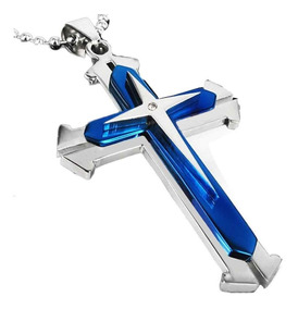 Colar Pingente Cruz Crucifixo Azul Aço Inox Cordão 3 Camadas