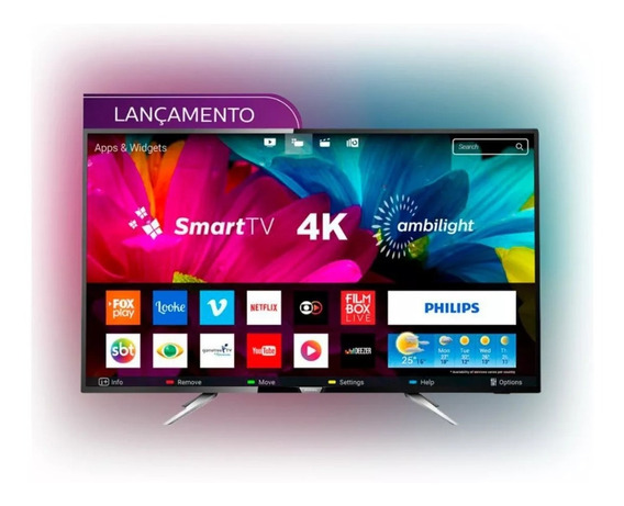 Smart Tv Led Uhd 4k Ambilight 55 Polegadas Philips 55pug6212