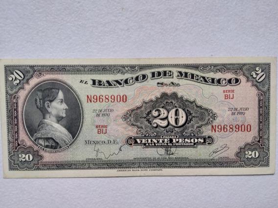 2 Billetes $20 Pesos Josefa Ortiz Corregidora México Ago