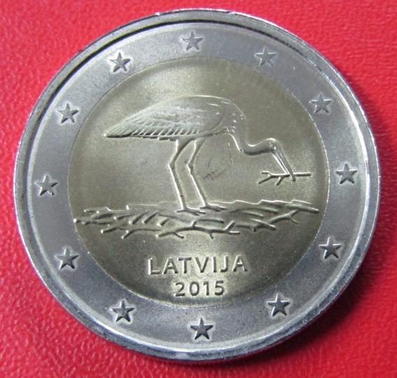 Letonia Moneda 2 Euros 2015 Unc Especies Amenazadas Garza