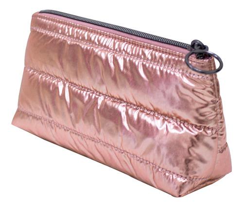 Imagen 1 de 2 de Cosmetiquera Rosa Metalico