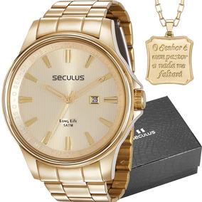 Kit Relógio Seculus Masculino Com Colar Nota 28934gpsvda1k1