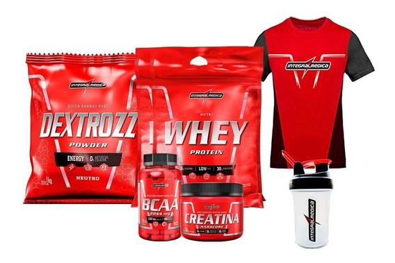 Kit 2x Whey+dextrozz+bcaa+coqueteleira+creatina+camiseta