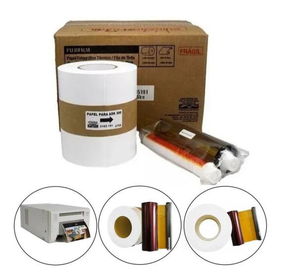 Kit Papel C/ribbon Para Impressora Fuji Ask 300/ 400 Fotos