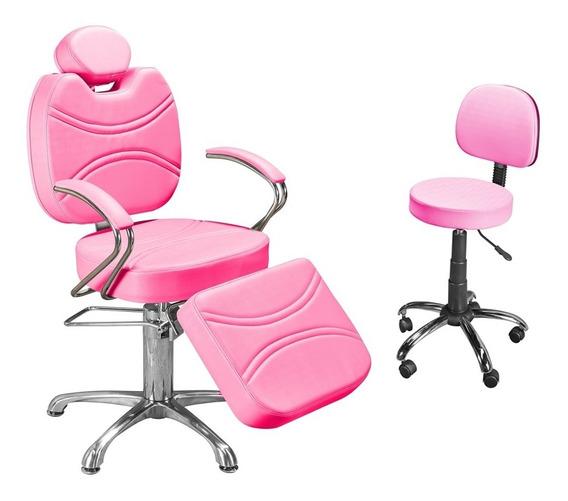 Cadeira Reclinável Maquiador + Mocho Base Cromada