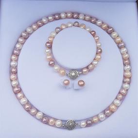 Colar +pulseira + Brinco Perola Branca Rosa Lilás A1111 + Cx