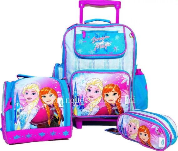 Kit Mochila Infantil Escolar De Rodinhas Frozen Media 2019