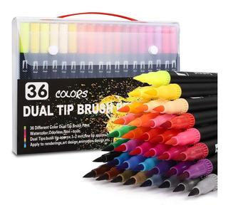 Plumones Marcadores De Punta De Pincel 36 Colores, Dibujo