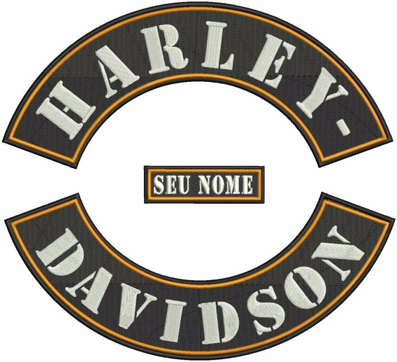 Patch Bordado Faixas Tarjão Bordado Harley Davidson Hd