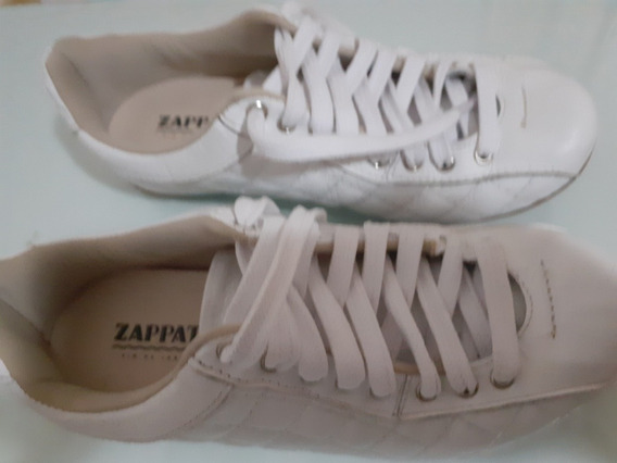 Tênis Feminino Zapato, Couro Branco Tam 34