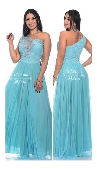 Vestido Madrinha Formatura Luxo Azul Tifany Marsala 1 Ombro