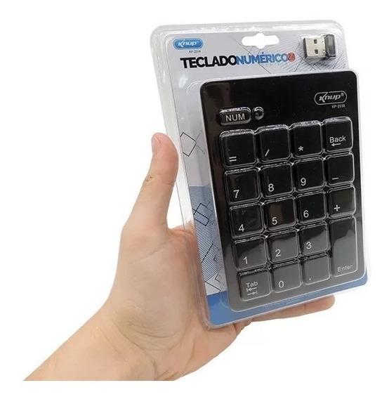 Teclado Numérico Sem Fio Wireless Usb Knup Kp-2038 Preto