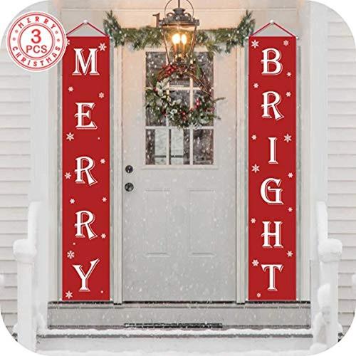 Imagen 1 de 7 de Cartel Navideño Con Texto En Inglés ''merry Christmas''