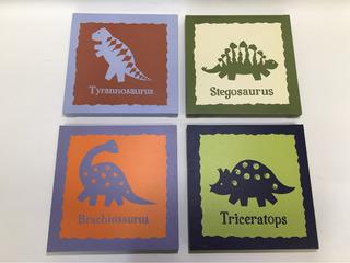 Juego De 4 Cuadros Decorativos De Dinosaurios Infantiles