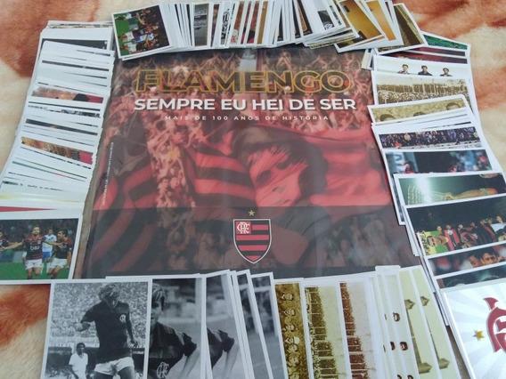 Lote Com 230 Figurinhas Do Flamengo + 2 Álbuns Vazios