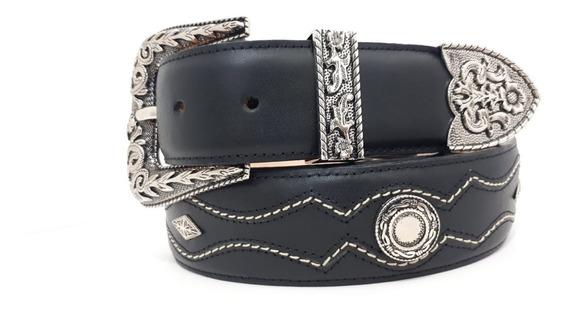 Cinturon Vaquero Piel Genuina En Color Negro Y Tang