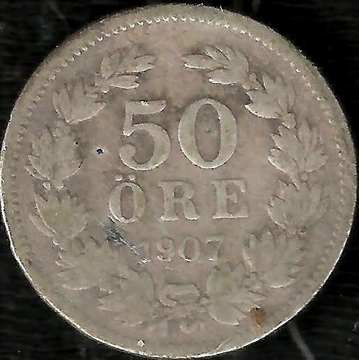 Suecia 1907 50 Ore Moneda De Plata Antigua Escasa! L911