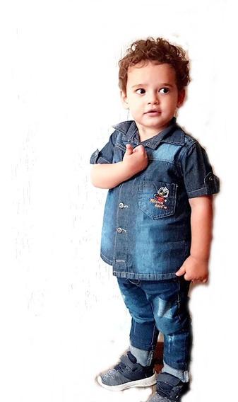 Camisa Jeans Infantil Do Tamanho 2 Ao 10