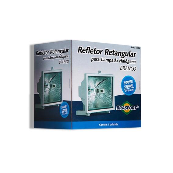 Refletor Brasfort Para Lâmpada Halogena 300/500w Branco