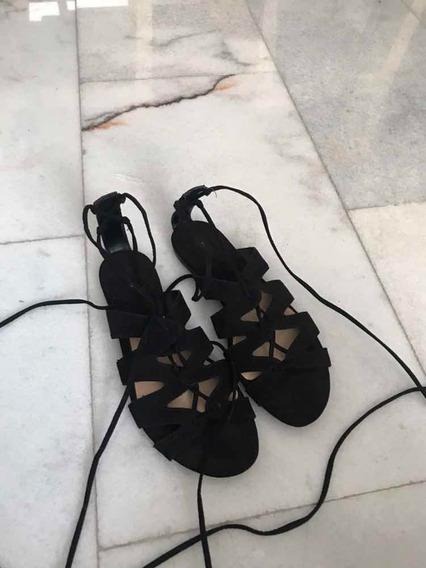 Sandalias Negras Gladiador De Mango