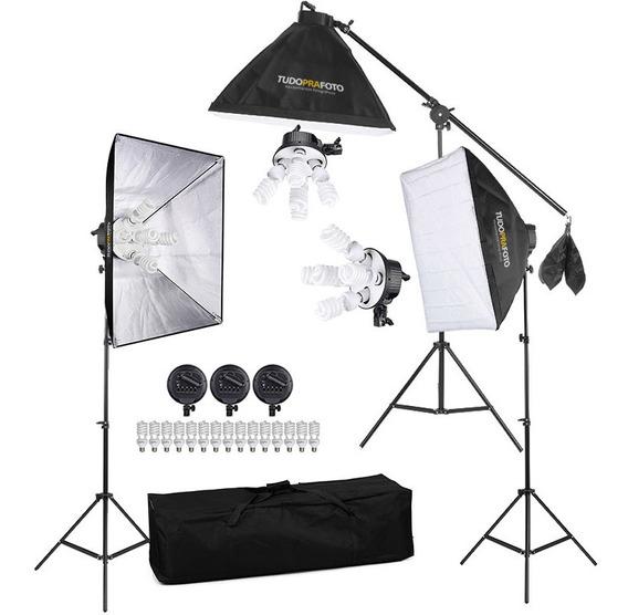 Estúdio De Iluminação Ares Softboxs 50x70 E Lâmpadas - 110v