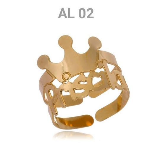Anel Folheado A Ouro 18k Personalizado Coroa