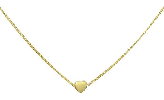Choker Delicada Feminina Coração Banhado A Ouro