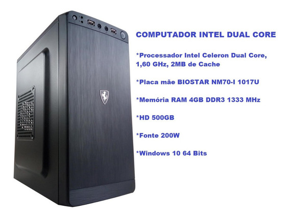 Cpu Intel Dual Core, Hd 500gb, Memória Ram 4gb Ddr3, Hdmi