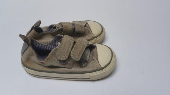 Zapatillas Converse All Star Bajas Grises De Lona Talle 22
