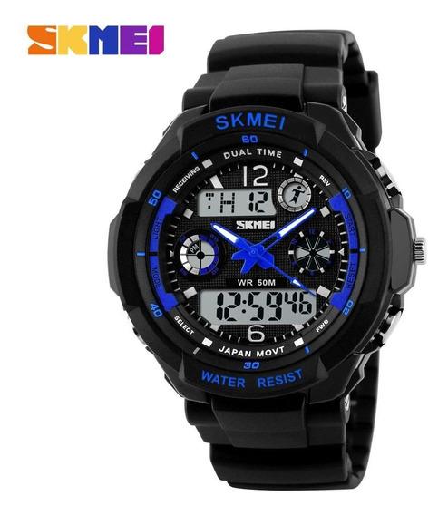 Relógio Esportivo Militar Masculino Skmei S-shock 0931 Led Digital Azul Natação Alarme Cronometro Quartz Original