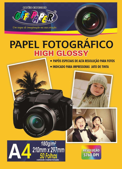 Papel Fotografico Inkjet A4 High Glossy 180g Off Paper C/50