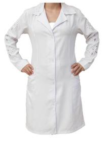 Jaleco Feminino Branco Bordado Tecido Microfibra 968