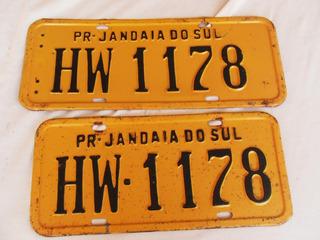 Par Placas Amarelas Antiga De Jandáiai Do Sul- Parana