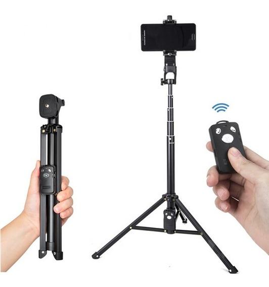 Tripé Profissional Celular E Camera 1,33m Controle Bluetooth