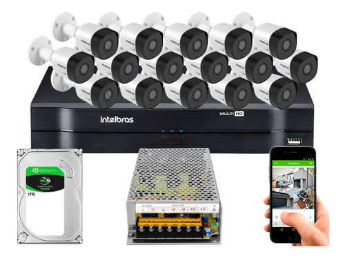 Kit Cftv Intelbras 16 Câmeras Full Hd 3230b 2m 16ch Sem Cabo